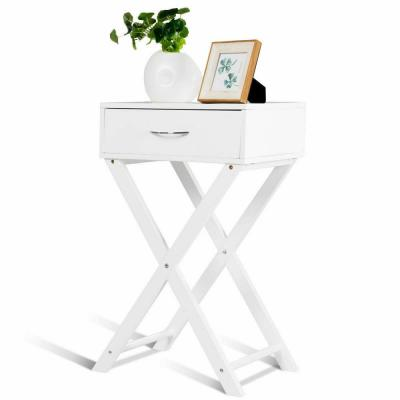 1-Drawer White Nightstand x-Shape Drawer Accent Side End Table Home Furniture