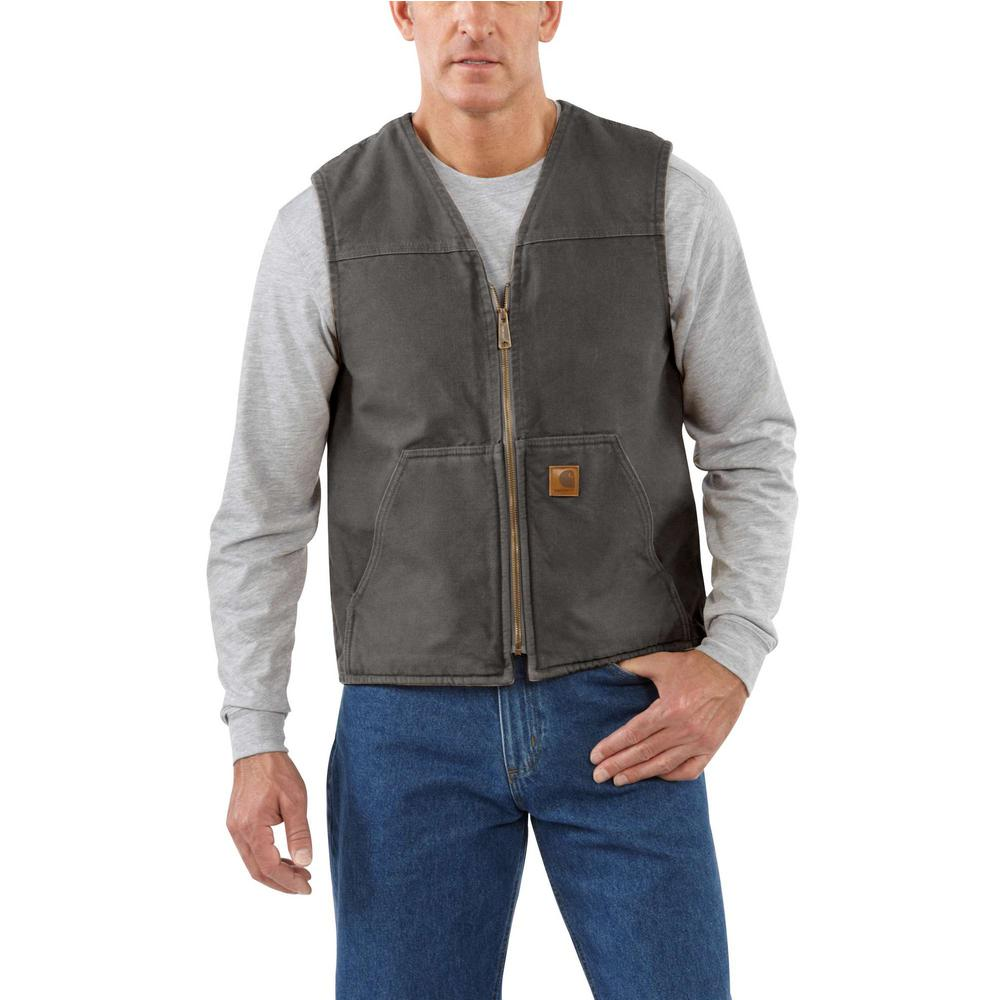 b026b6af9e9 Carhartt Men s Large Tall Gravel Cotton Rugged Vest Sherpa Lined ...