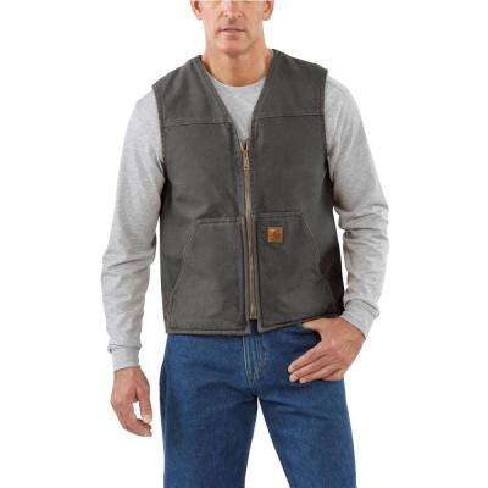 Men's Extra Large Gravel Cotton Rugged Vest Sherpa Lined Sandstone