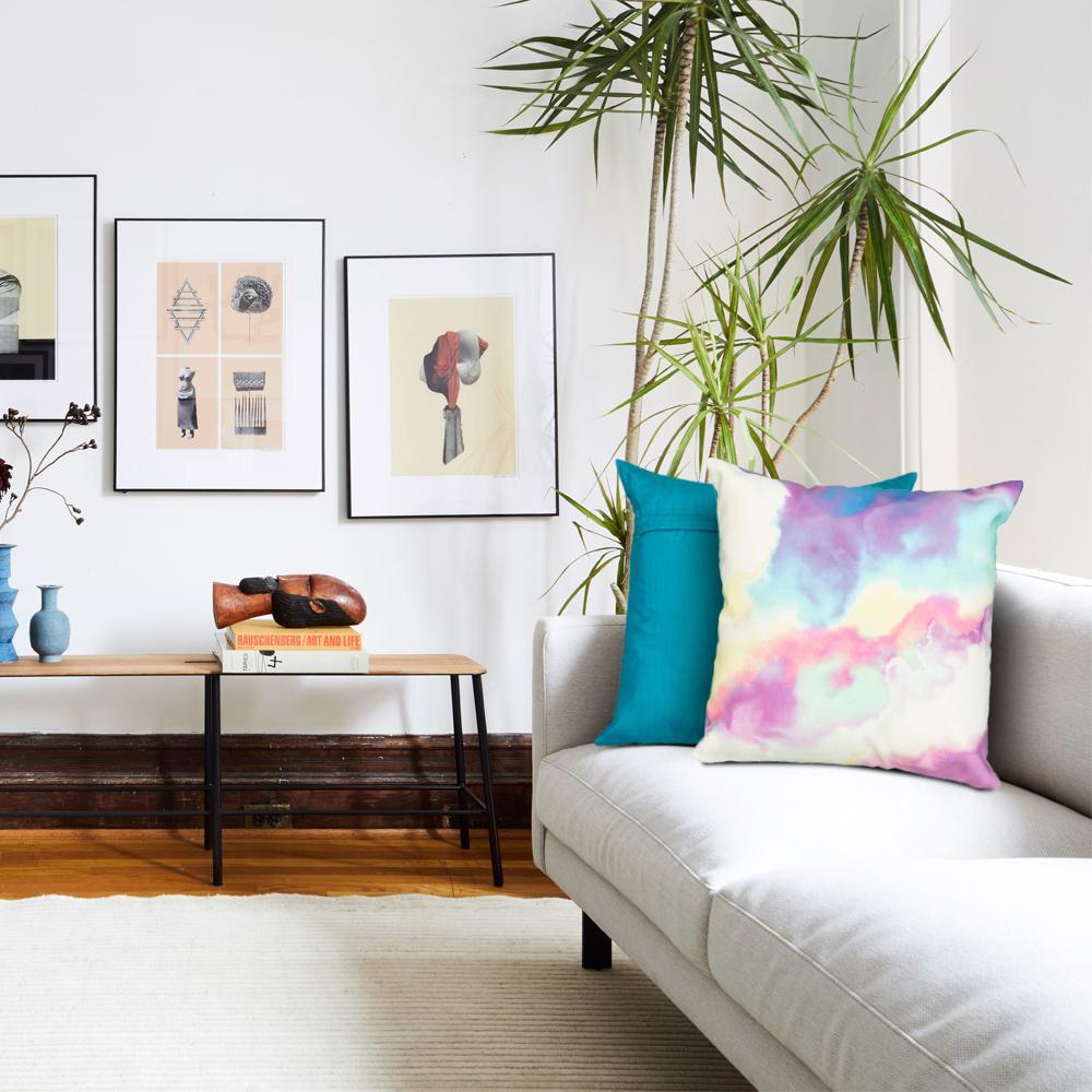 Neoteric Watercolor Multi Color 18 in. x 18 in. Indoor/Outdoor Throw Pillow