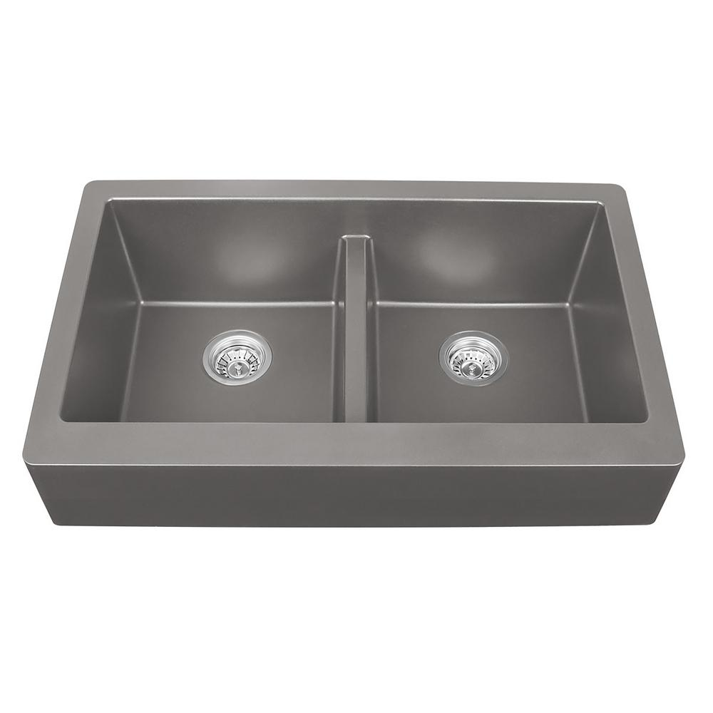 Apron Sink Vintage Apron And Custom: Karran Retrofit Farmhouse Apron Front Quartz Composite 34
