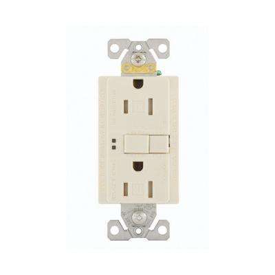 GFCI Self-Test 15A -125V Tamper Resistant Duplex Receptacle with Standard Size Wallplate, Light Almond