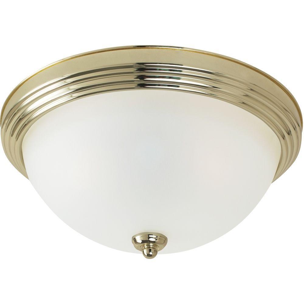 Sea Gull Lighting 2-Light Ceiling Polished Brass Flush Mount