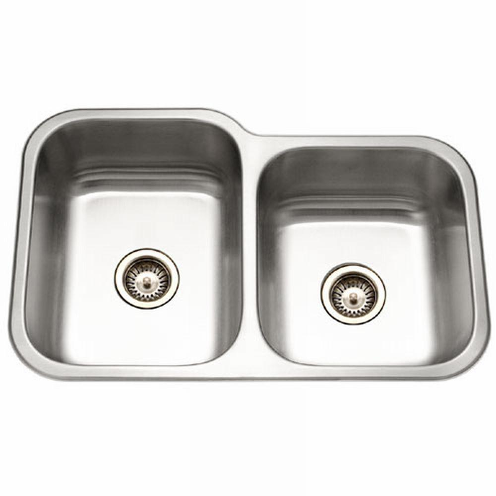 HOUZER Elite Series Undermount Stainless Steel 32 In. Double Basin Kitchen  Sink EC 3208SR 1   The Home Depot