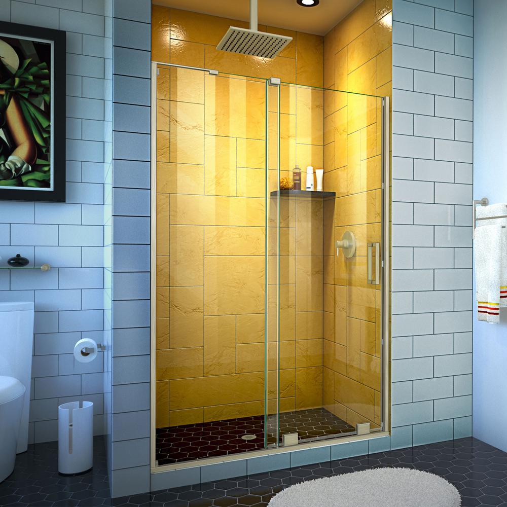 Mirage-Z 48 in. W x 72 in. H Frameless Sliding Shower Door in Brushed Nickel
