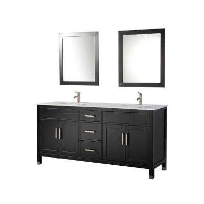 Ricca 84 in. W x 22 in. D x 36 in. H Vanity in Espresso with Microstone Vanity Top in White with White Basins & Mirrors
