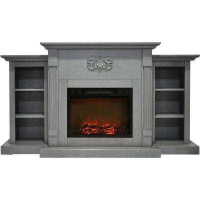 Classic 72 in. Electric Fireplace in Gray with Built-in Bookshelves and a 1500-Watt Charred Log Insert