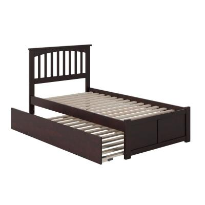 Mission Twin Extra Long Bed with Footboard and Twin Extra Long Trundle in Espresso