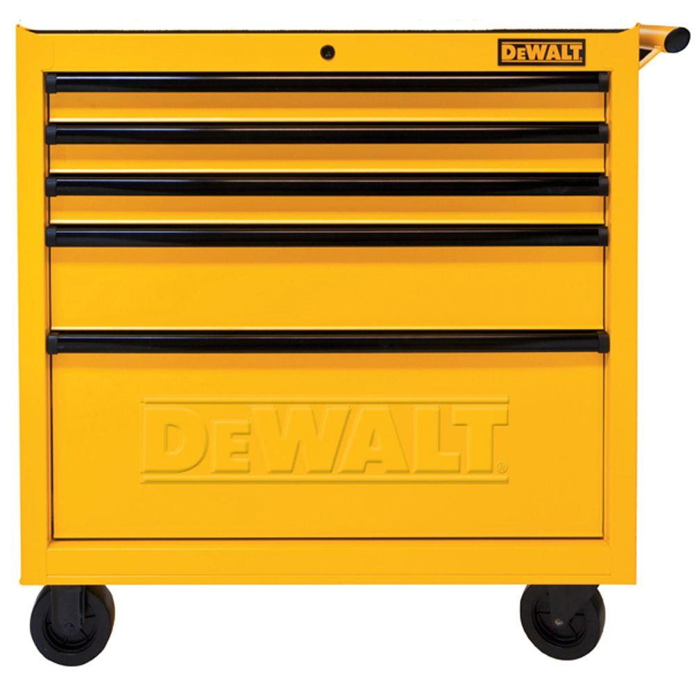 DEWALT 36 in. 5-Drawer Rolling Bottom Tool Chest, Yellow-DWMT73679 ...