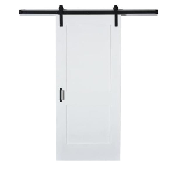 43 in. x 84 in. 2-Panel Primed Unfinished Solid MDF Core Wood Sliding Barn Door with Hardware Kit