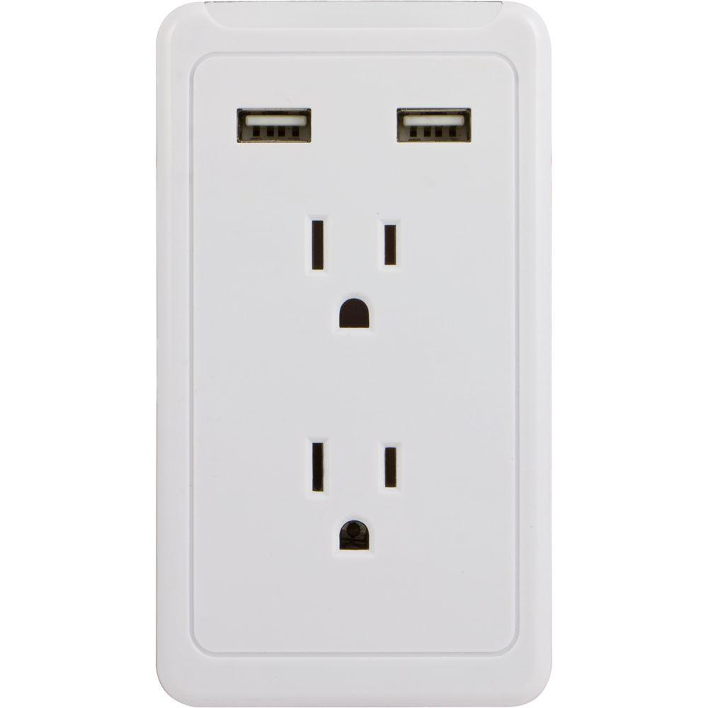2-Outlet and 2-USB Port 2.1 Amp Tap, White