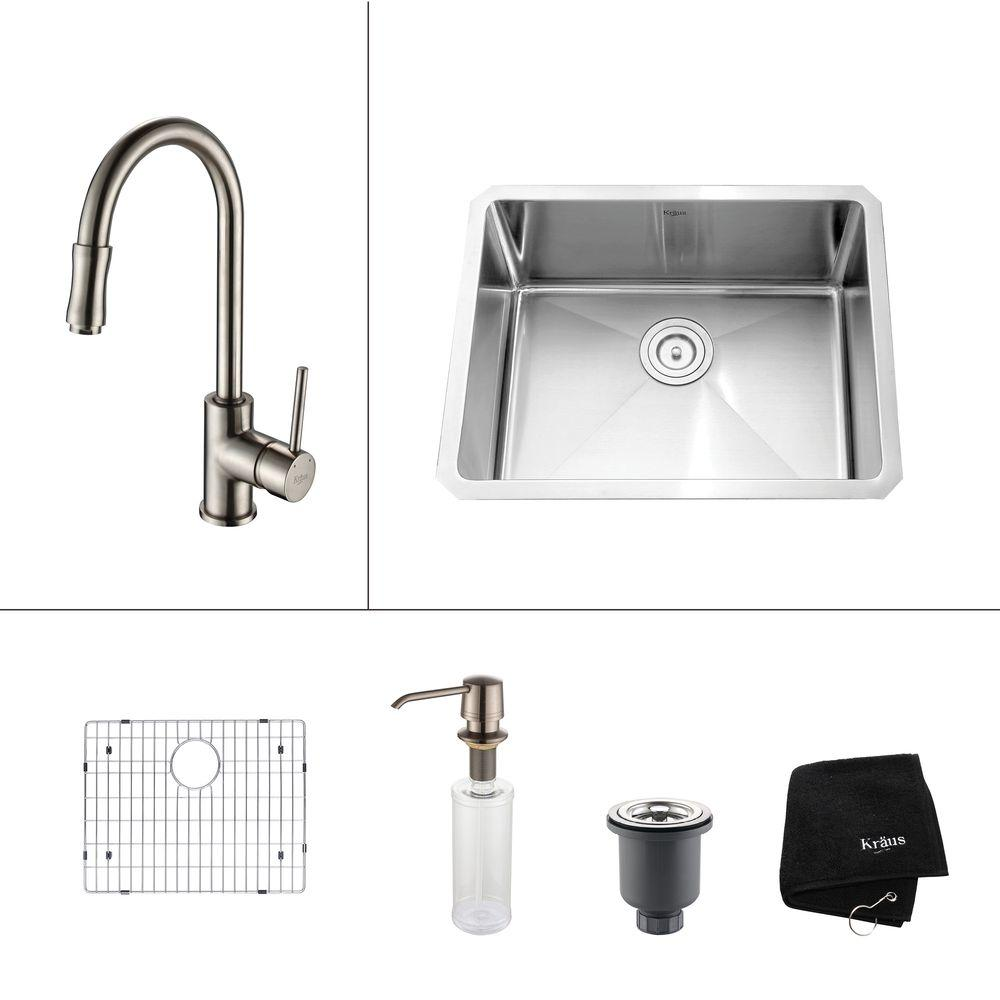 KRAUS All-in-One Undermount Stainless Steel 23 in. Single Bowl Kitchen Sink with Faucet and Accessories in Satin Nickel