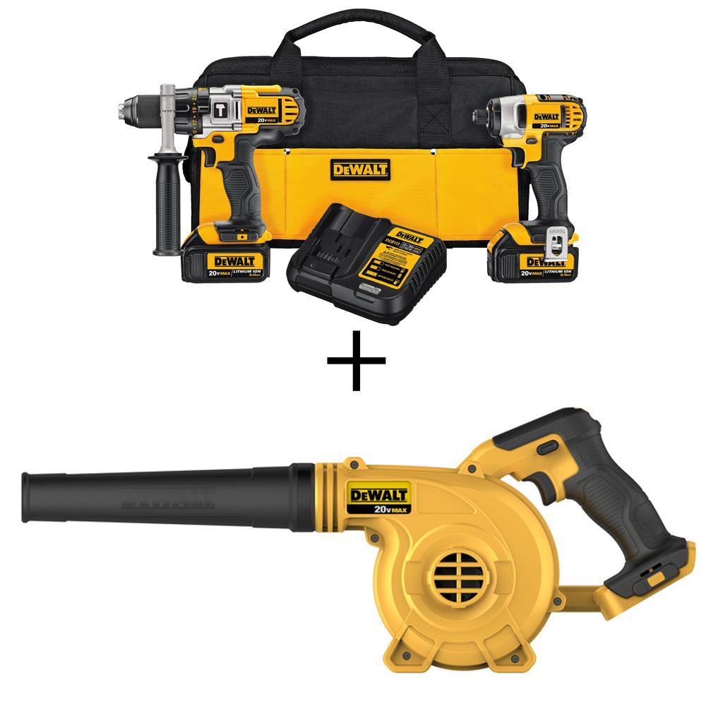 20-Volt MAX Lithium-Ion Cordless Hammer Drill/Impact Driver Combo Kit (2-Tool) with Bonus Handheld Blower