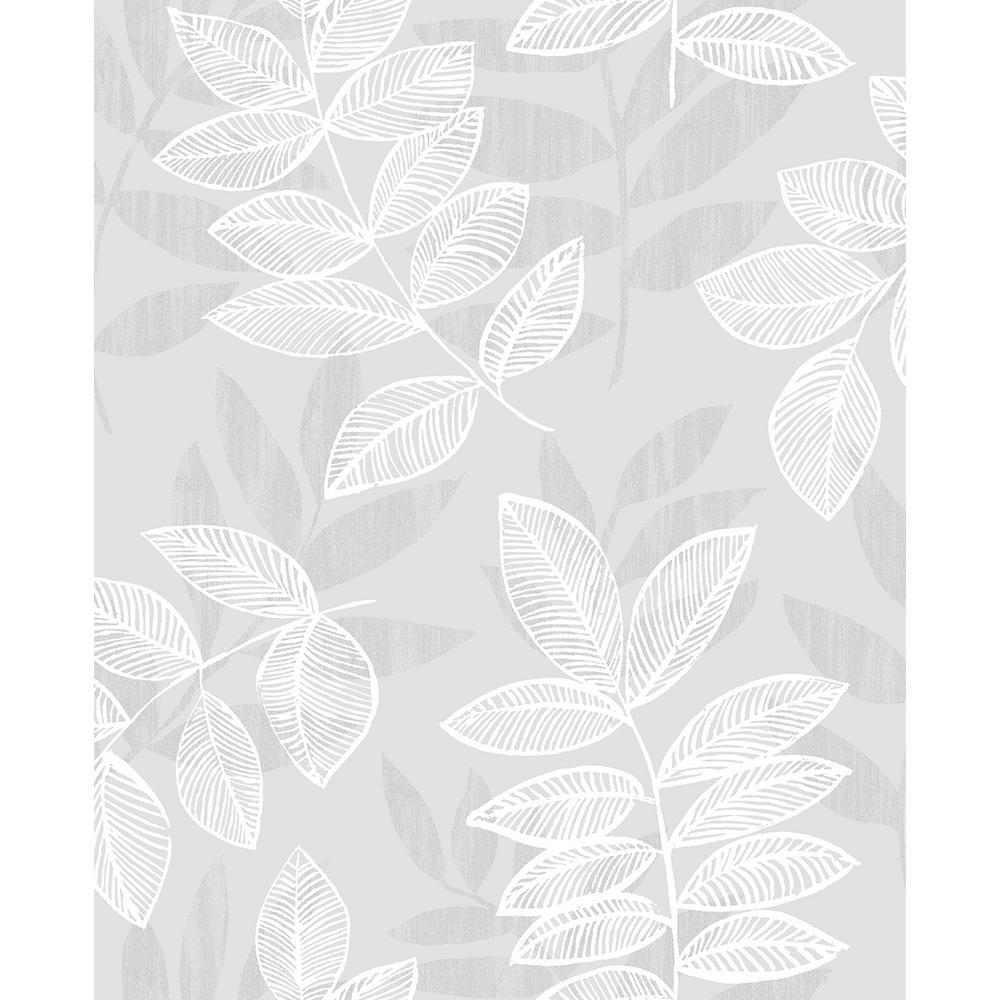 A-Street 8 in. x 10 in. Chimera Silver Flocked Leaf Wallpaper