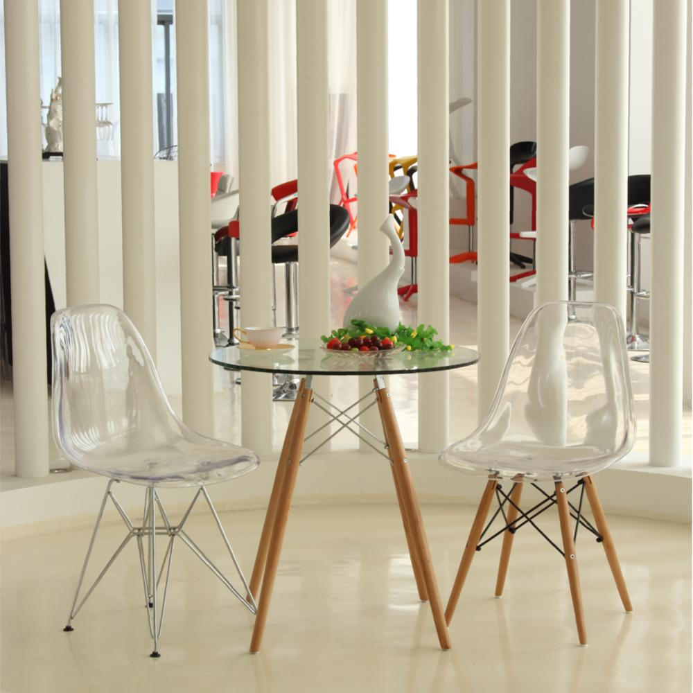 Glosswood clear dining side chair