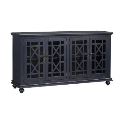 63 in. W Blue Wooden TV Stand with Trellis Detailed Doors Fits 65 in. TV
