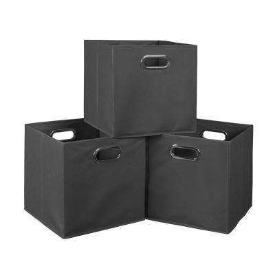 Cubo 12 in. x 12 in. Grey Foldable Fabric Bin (3-Pack)