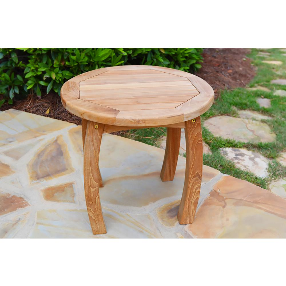 Tortuga Outdoor Jakarta Teak 20 In Round Outdoor Side Table Tk Rst