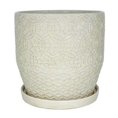 10 in. Dia Ceramic White Rivage Planter