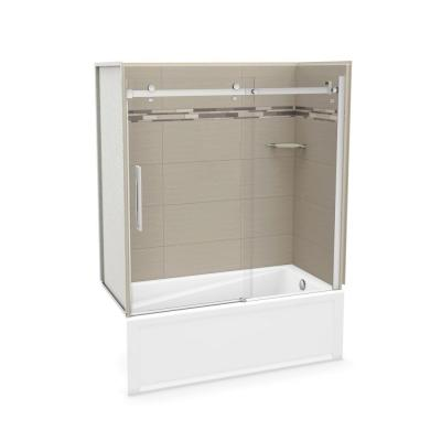 Utile Origin 30 in. x 59.8 in. x 81.4 in. Right Drain Alcove Bath and Shower Kit in Greige with Chrome Door