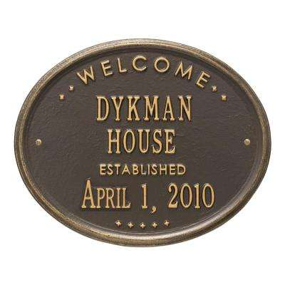 Welcome Oval House Established Personalized Plaque