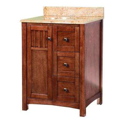 Knoxville 25 in. W x 22 in. D Vanity in Nutmeg with Vanity Top and Stone Effects in Tuscan Sun