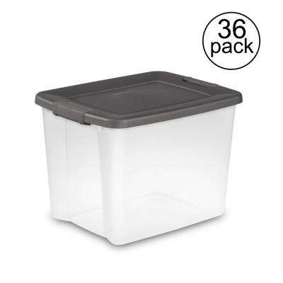 50-Quart Storage Clear Base Stackable Latching Shelf Tote (36 Pack)