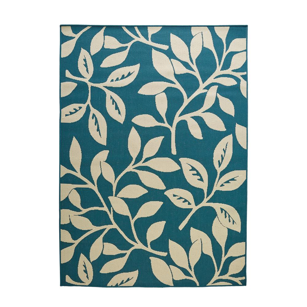Teal Floral Area Rug: Hampton Bay Reversible Cream/Teal Floral Flat Woven Weave