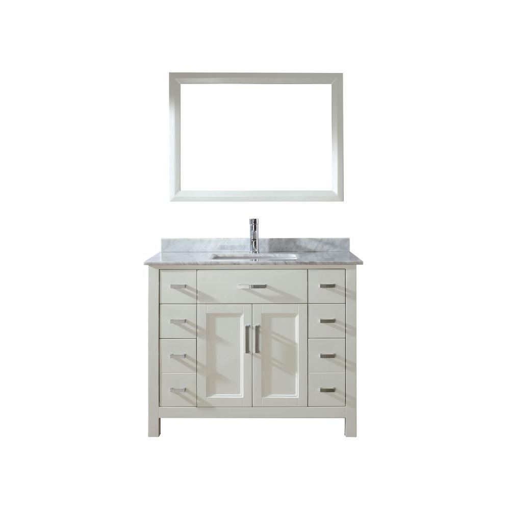 Studio Bathe Kelly 42 in. Vanity in White with Marble Vanity Top in Carrara White and Mirror