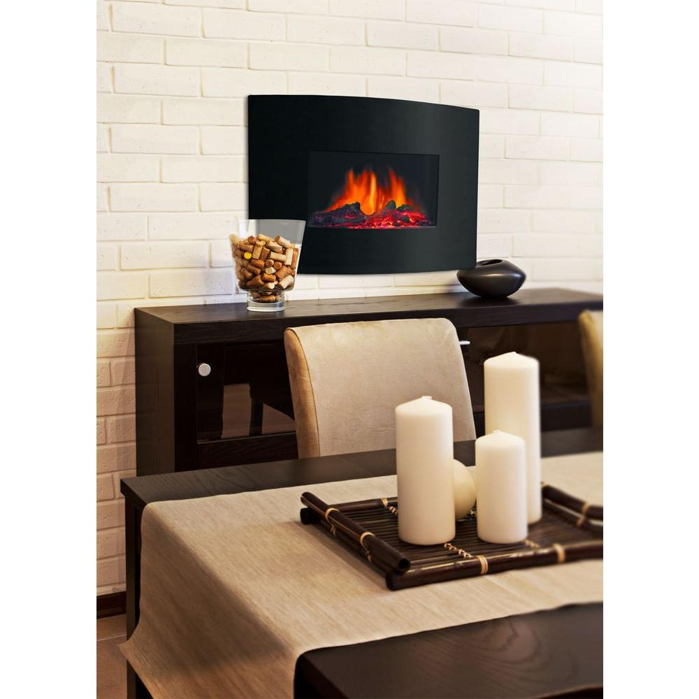 Quality Craft 24 in. Electric Wall-Mount Fireplace in Black