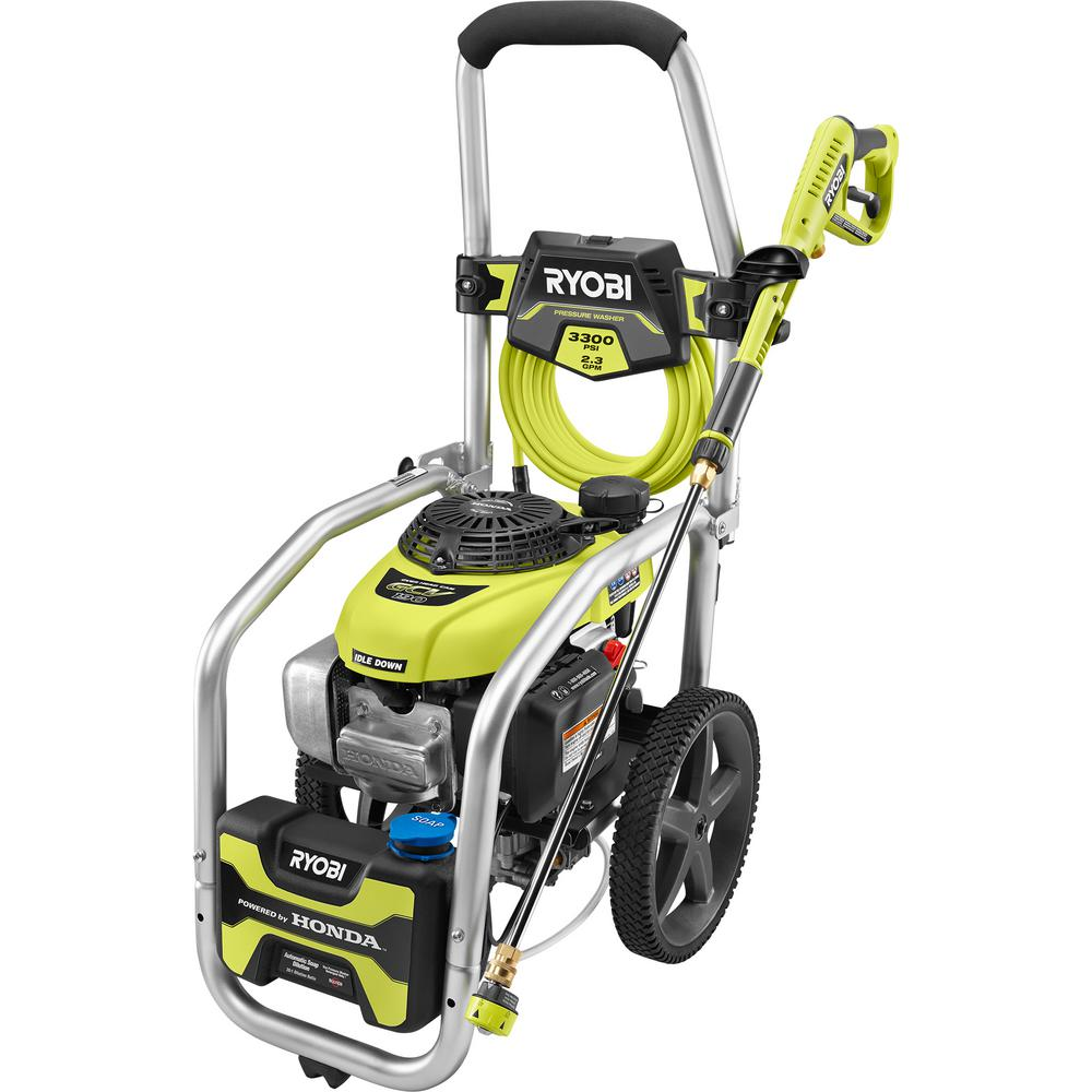 RYOBI 3300 PSI 2.3 GPM Cold Water Gas Pressure Washer with Honda GCV190 Idle Down