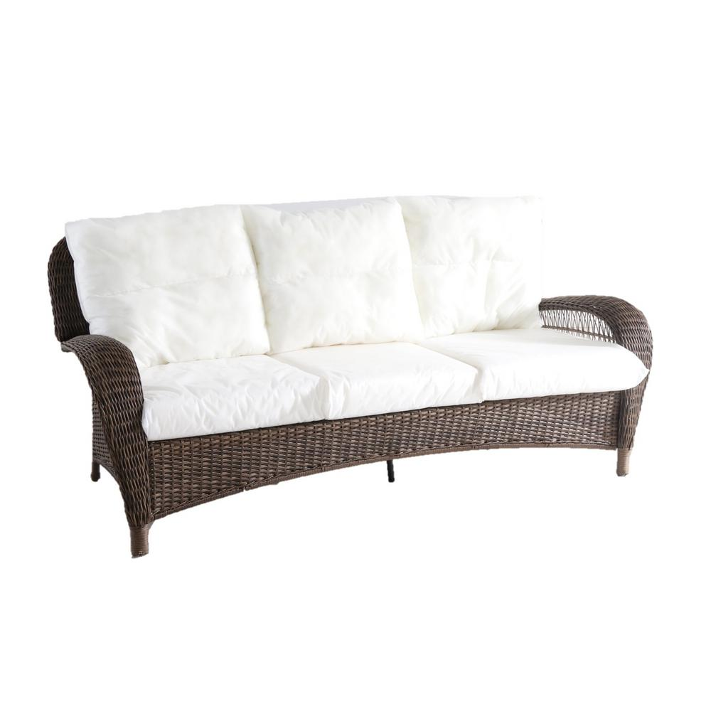 Hampton Bay Beacon Park Wicker Outdoor Sofa With Cushions Included Choose Your Own Color