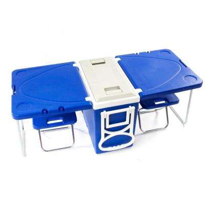 20-Gal Outdoor Picnic Foldable Multi-function Rolling Cooler Blue Storage Box