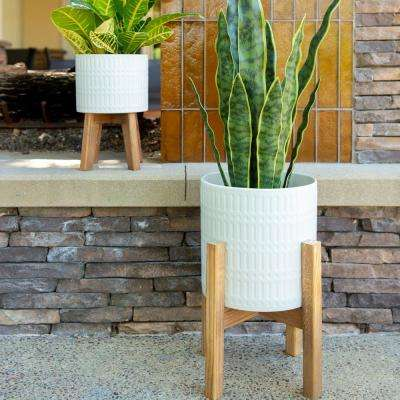 10 in & 8 in Matte White Roman Ceramic Planter on Wood Stand Mid-Century Planter,Set of 2