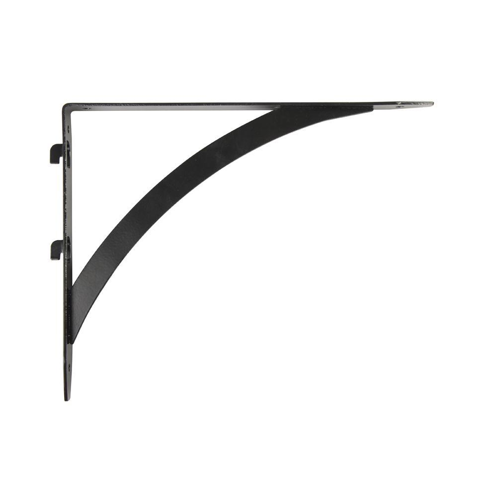 10.25 in. x 7.7 in. Black Dual Track Elegant Shelf Bracket