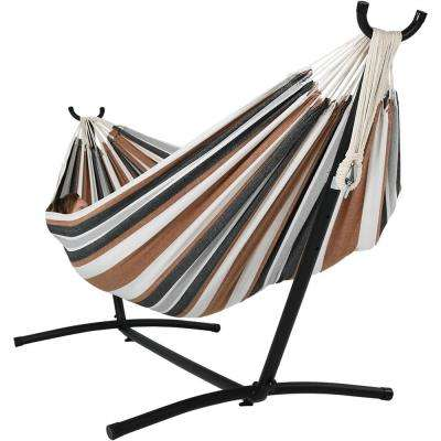 8 ft. Fabric Jumbo 2-Person Brazilian Hammock with Stand in Calming Desert