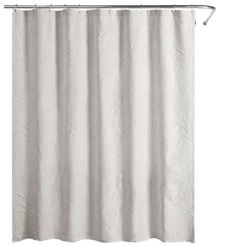Ella European Matelassé 72 in. Shower Curtain Gray