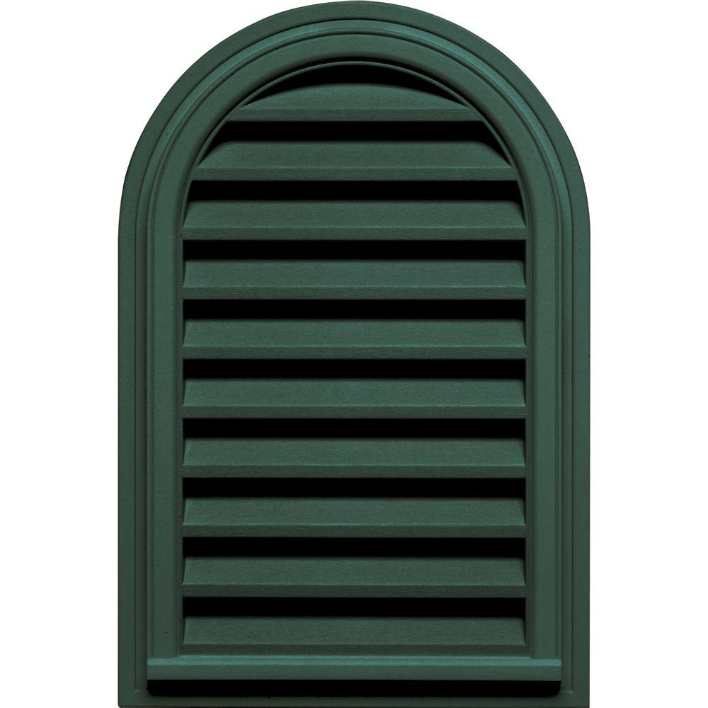 Builders Edge 22 in. x 32 in. Round Top Gable Vent in Forest Green
