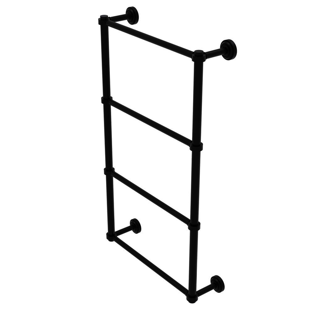 Allied Brass Dottingham Collection 4-Tier 24 in. Ladder Towel Bar in Matte Black