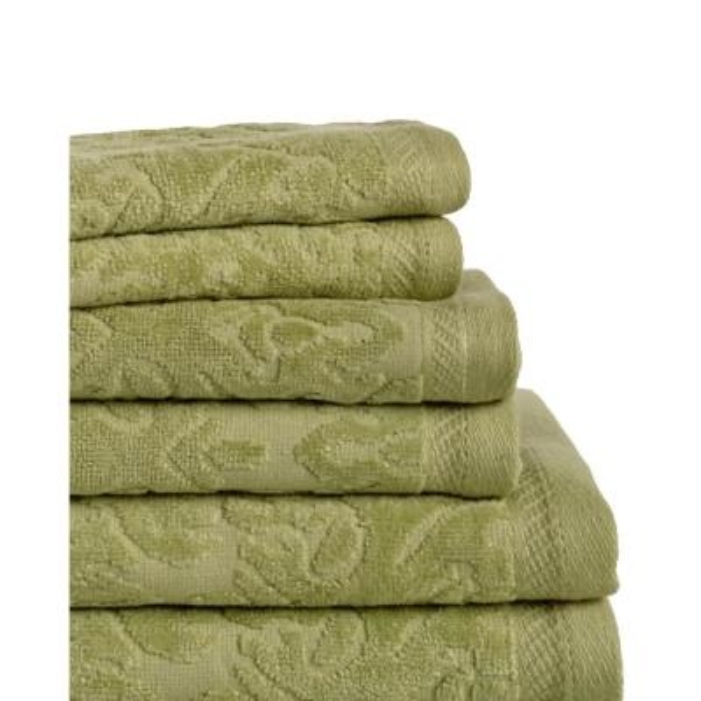 Mallorca 6-Piece 100% Cotton Bath Towel Set in Jade