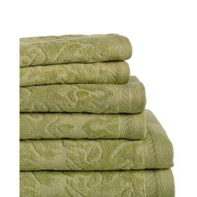 Mallorca 6-Piece 100% Cotton Bath Towel Set in Jade
