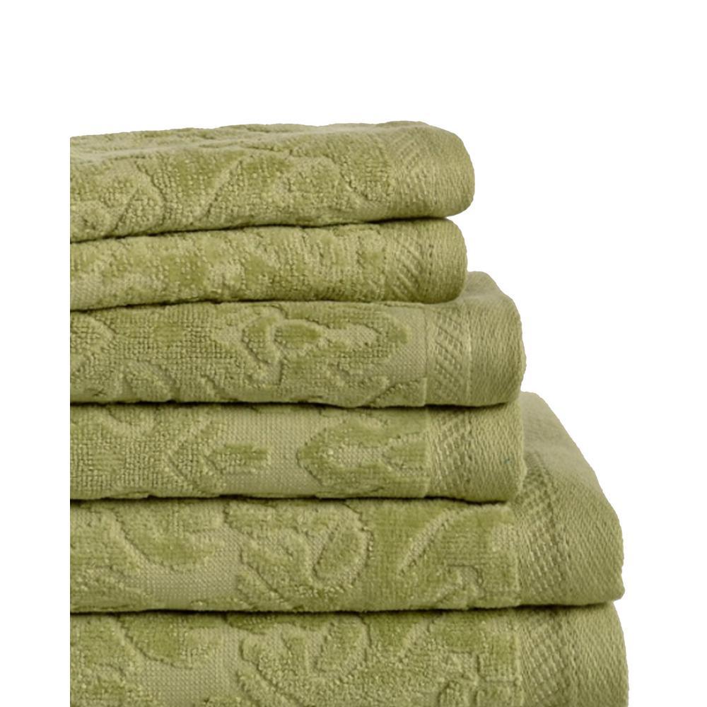 Espalma Mallorca 6-Piece 100% Cotton Bath Towel Set in Jade 855603