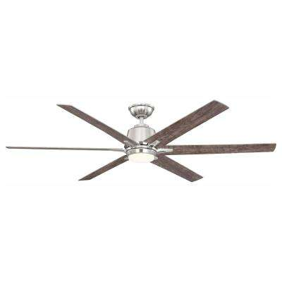 Kensgrove 64 in. LED Brushed Nickel Ceiling Fan with Remote Control