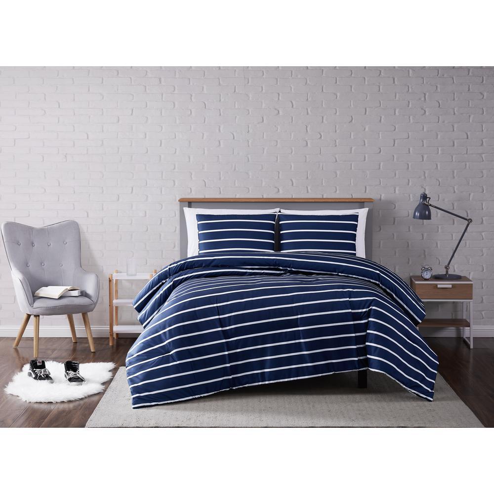 Maddow Stripe Navy Full/Queen 3-Piece Comforter Set