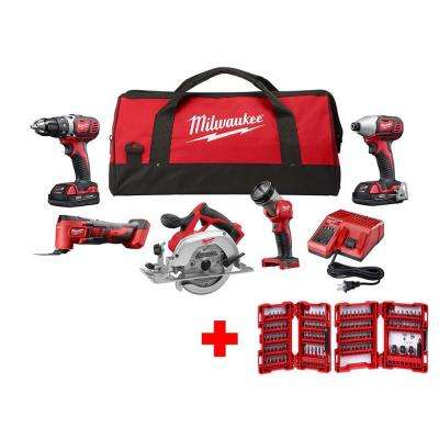 M18 18-Volt Lithium-Ion Cordless Combo Tool Kit (5-Tool) with Impact Bit Set (106-Piece)