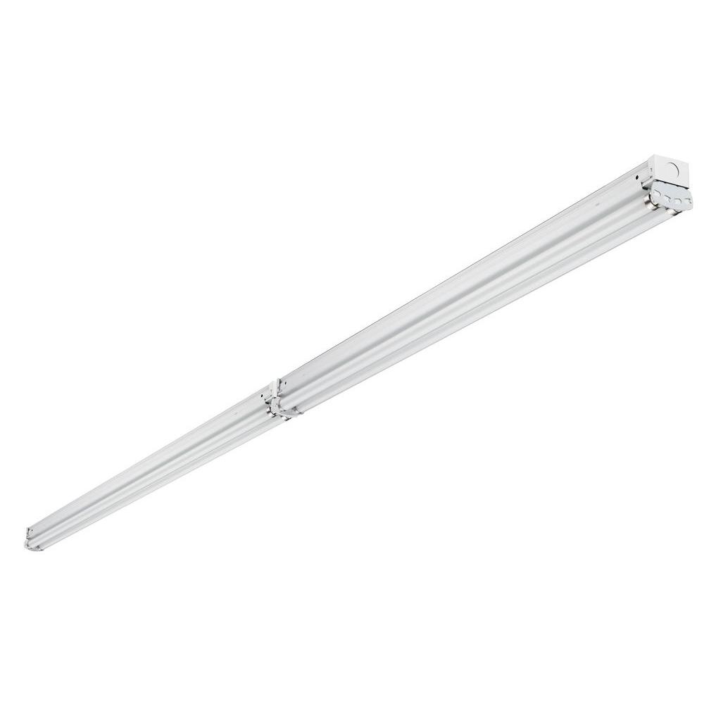 8 ft. 4-Light Tandem Low Profile White Fluorescent Non-Hooded Strip Light