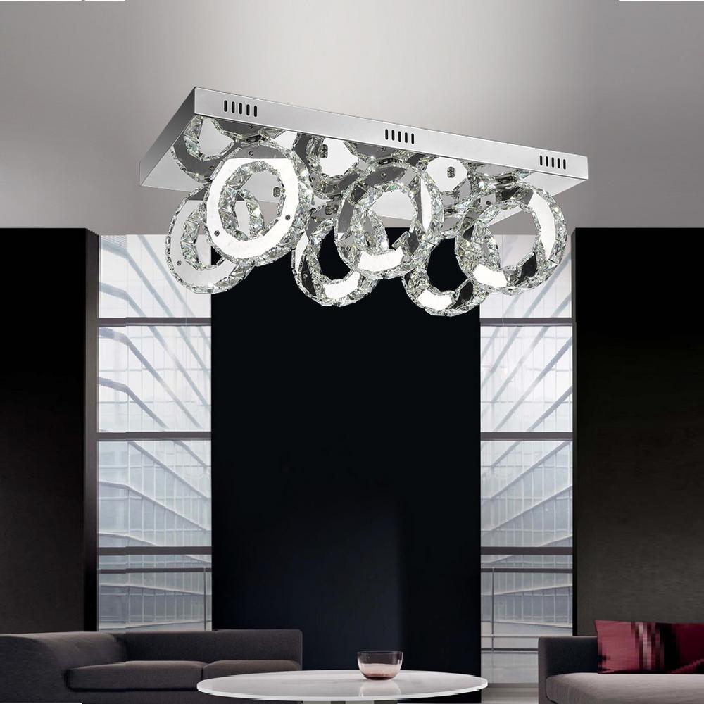 CWI Lighting Ring 1-Watt Chrome Integrated LED Ceiling Flush Mount