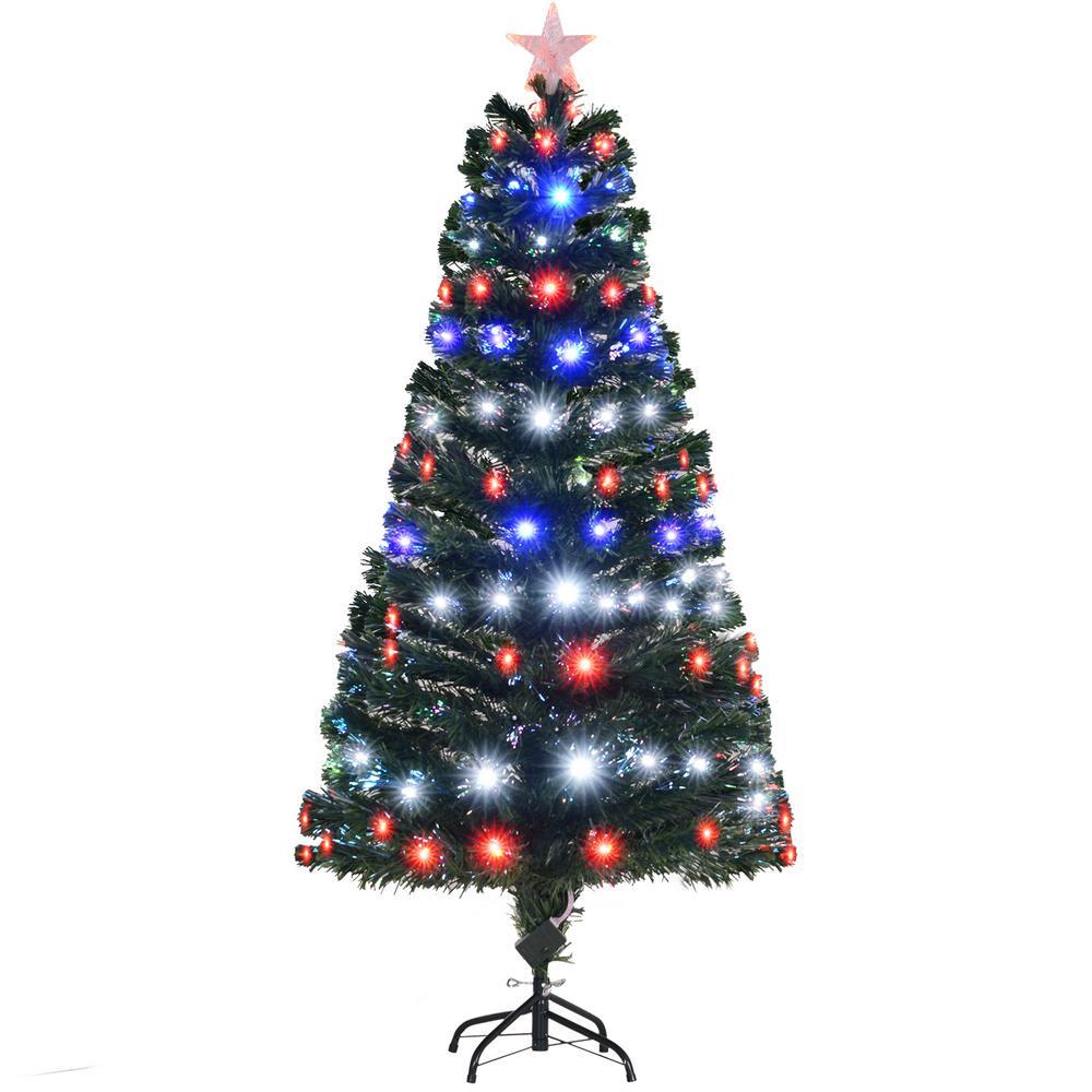 Homcom 5 Ft Pre Lit Led Douglas Fir Artificial Christmas Tree With 8 Pre Programmed Rgb Lights And Fiber Optic Colors 02 0783 The Home Depot
