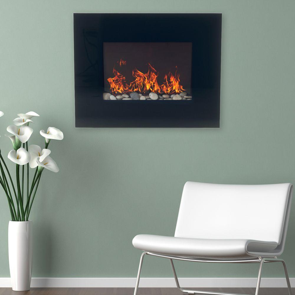 26 in. Glass Panel Wall Mount Electric Fireplace and Remote in