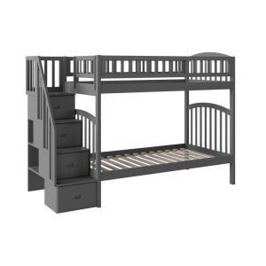 Westbrook Grey Twin Over Twin Staircase Bunk